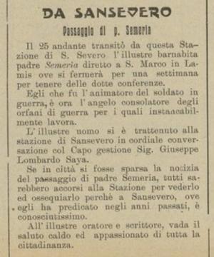 P. Semeria passa per la stazione di S. Severo - 1928