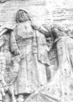 """P. Semeria e P. Minozzi offrono doni a Gesù Bambino [Istituto Maschile """"P. Minozzi"""" di Amatrice] (scultura di A. Monteleone)"""