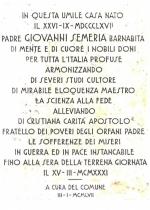 Lapide posta dinanzi la casa natale del P. Semeria a Coldirodi.