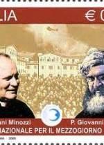 Francobollo commemorativo su Padre Giovanni Semeria e Padre Giovanni Minozzi fondatori dell'Opera Nazionale per il Mezzogiorno d'Italia (19 ottobre 2009).