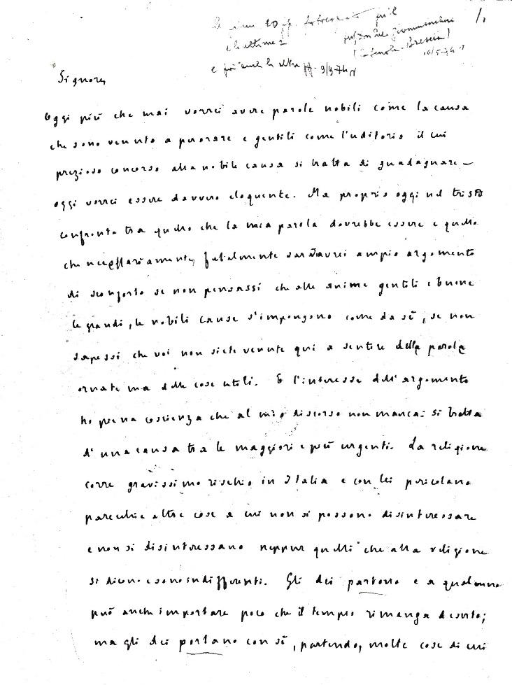 Le condizioni dell'istruzione religiosa in Italia
