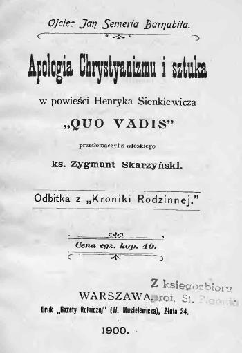 """""""Apologia Chrystyanizmu i sztuka w powieści Henryka Sienkiewicza: «Quo vadis»"""" (1900)"""