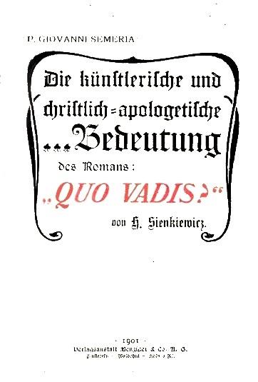 L'arte e l'apologia cristiana nel Quo vadis di Enrico Sienkievicz