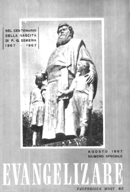 """""""Padre Giovanni Semeria"""", Numero Speciale di """"Evangelizare"""", a. VI (1967), n. 8 (agosto)"""