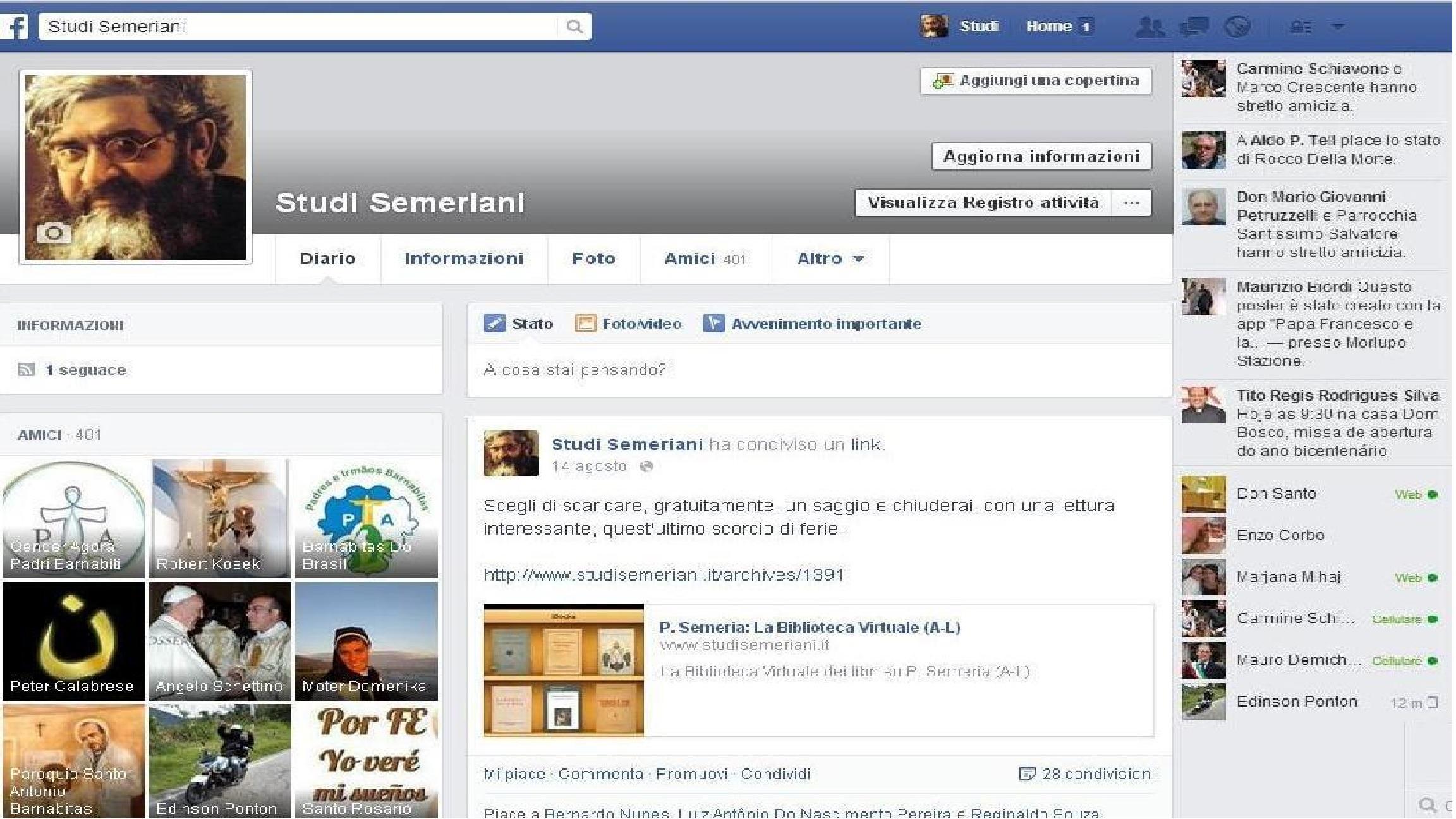 Studi Semeriani: account Facebook