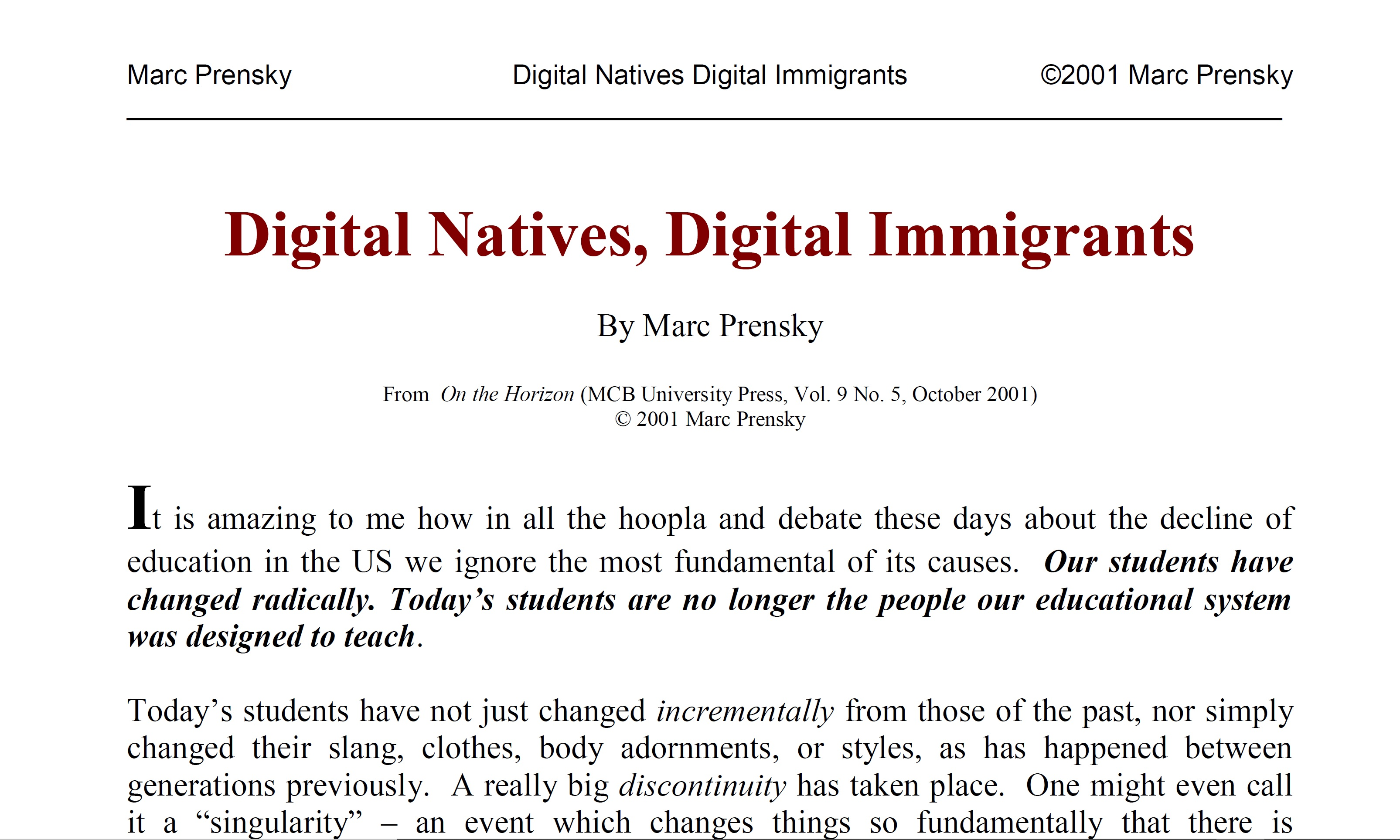 Digital Natives, Digital Immigrants