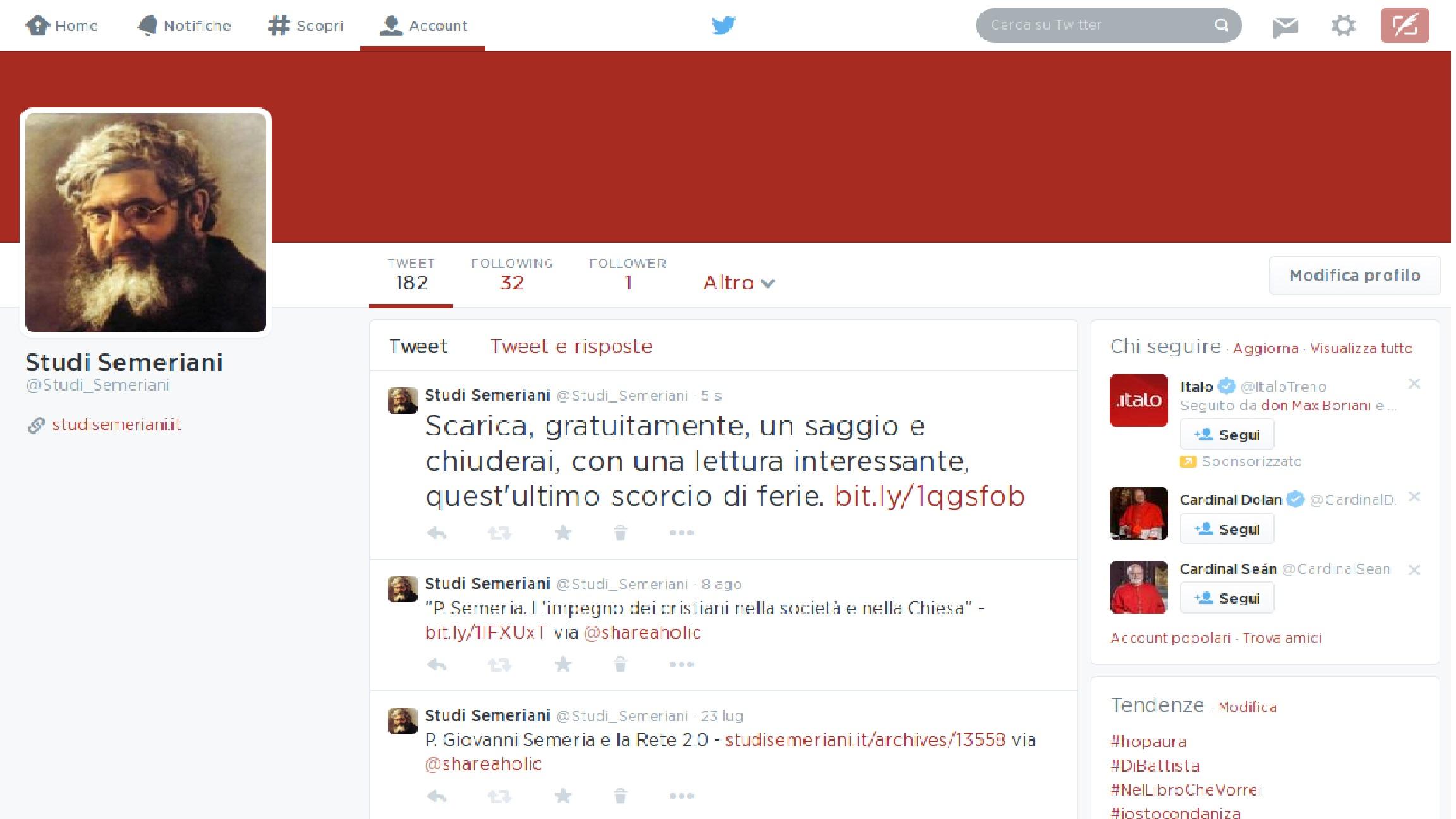 Studi Semeriani: account Twitter