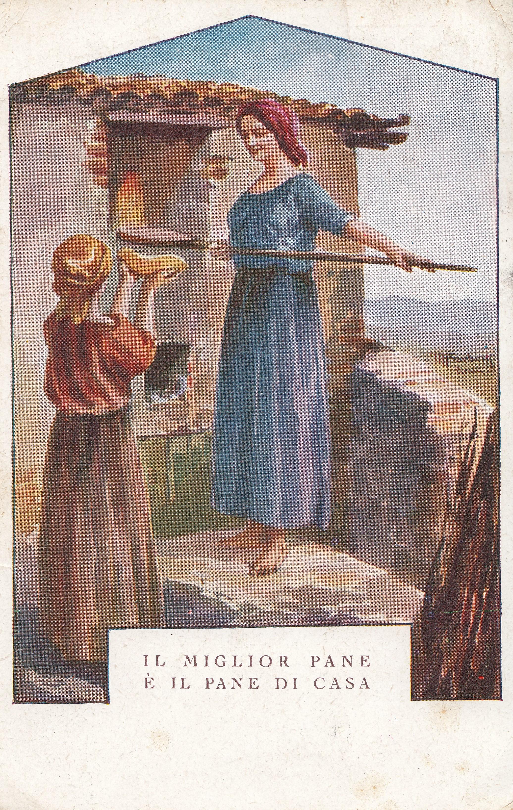 Cartolina con il forno per il pane